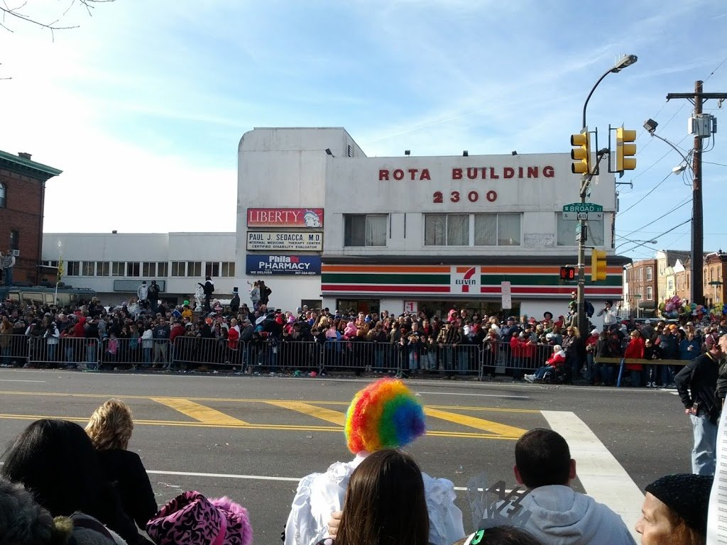 People waiting for the Mummers at the Philadelphia New Year Parade 2012